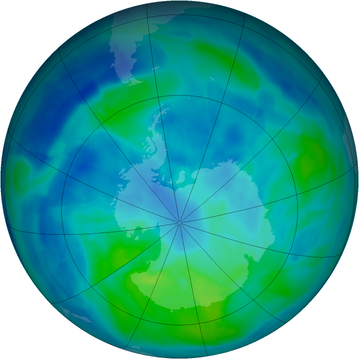 Antarctic ozone map for 19 March 2014