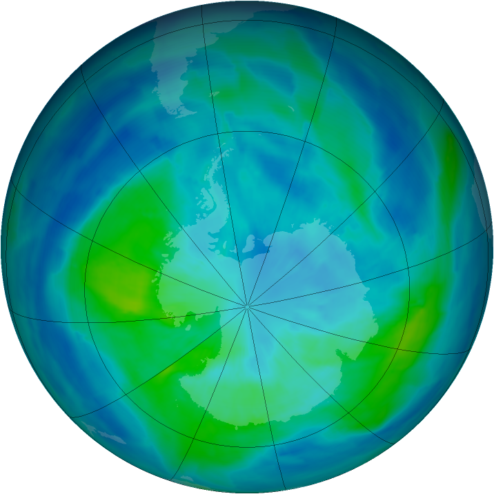 Antarctic ozone map for 23 March 2014
