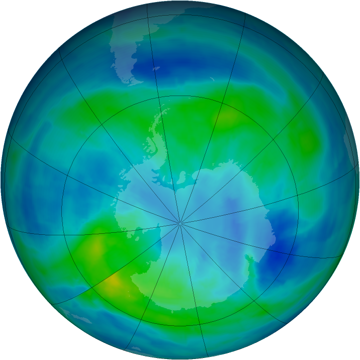 Antarctic ozone map for 27 March 2014