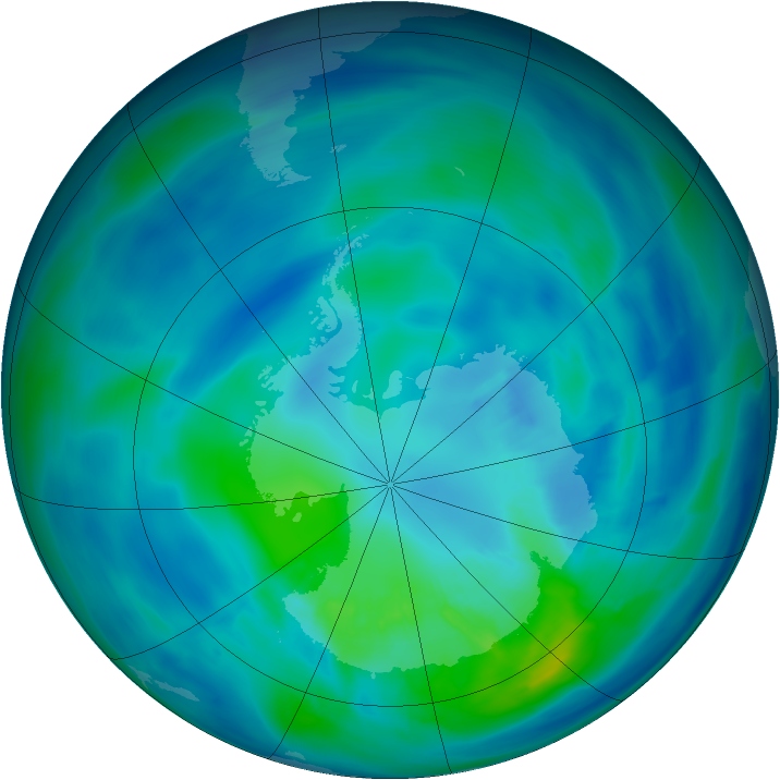 Antarctic ozone map for 03 April 2014