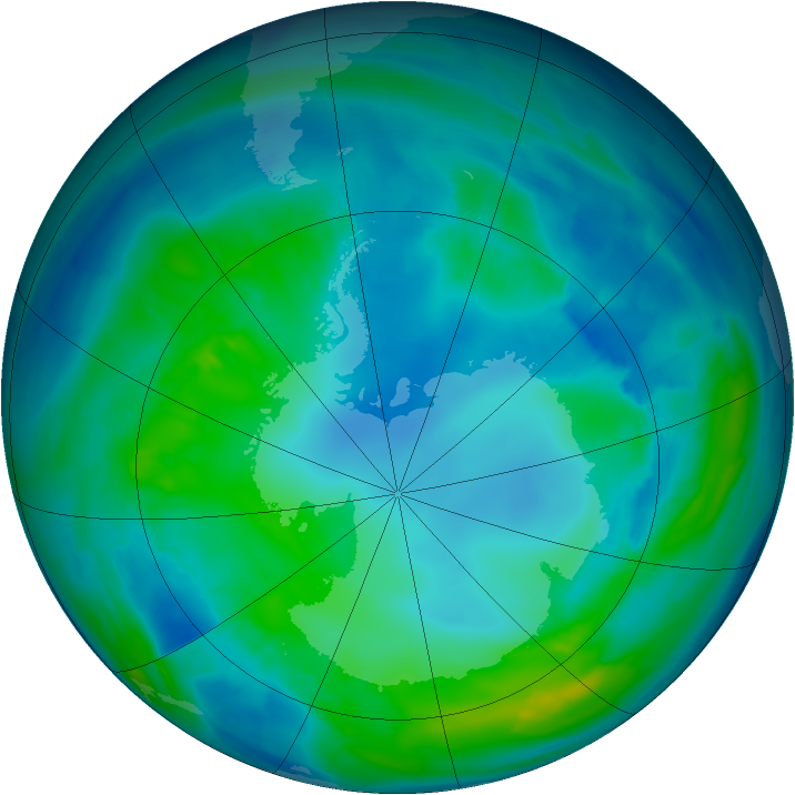 Antarctic ozone map for 29 April 2014