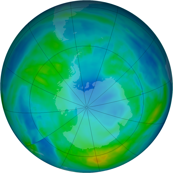 Antarctic ozone map for 30 April 2014
