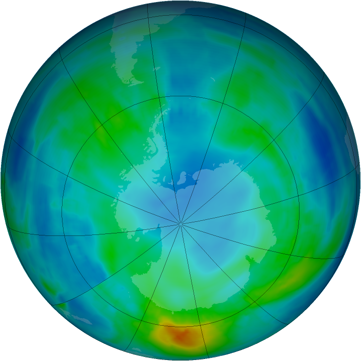 Antarctic ozone map for 01 May 2014