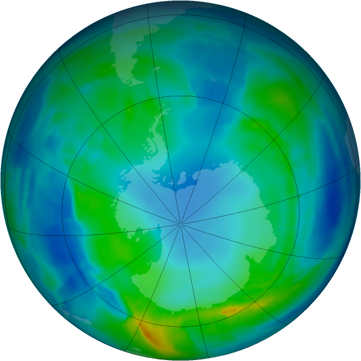 Antarctic ozone map for 02 May 2014