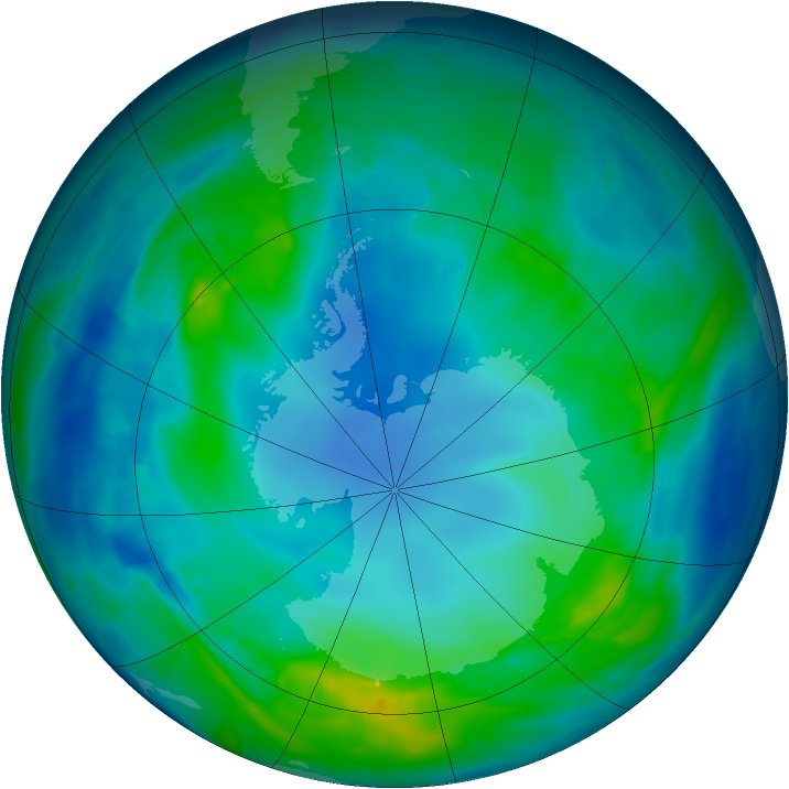 Antarctic ozone map for 04 May 2014