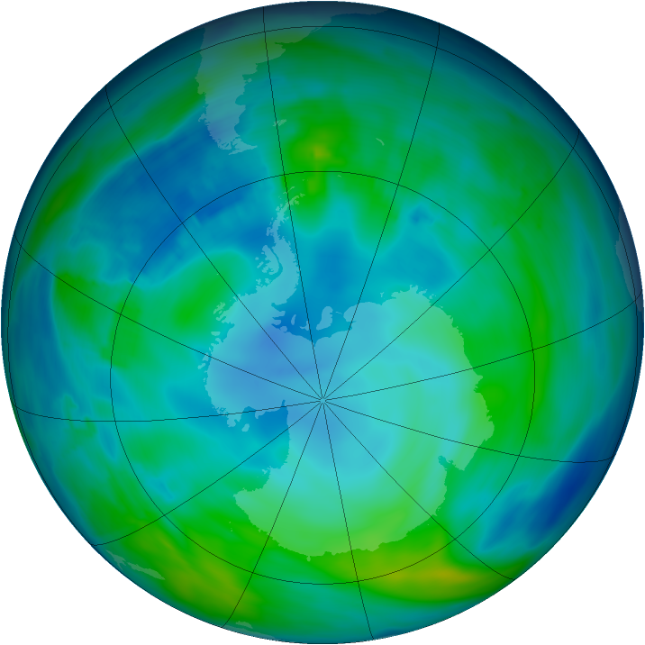 Antarctic ozone map for 06 May 2014