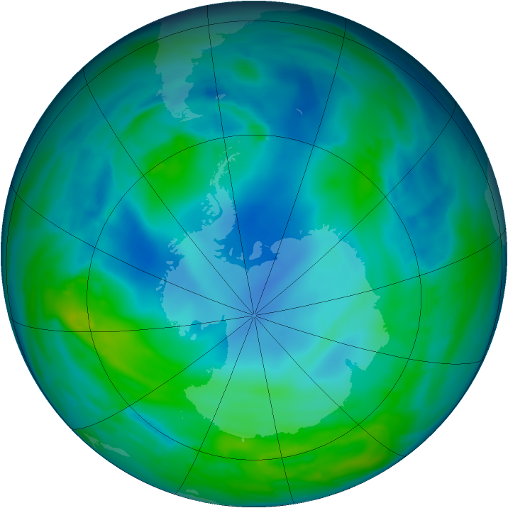 Antarctic ozone map for 11 May 2014
