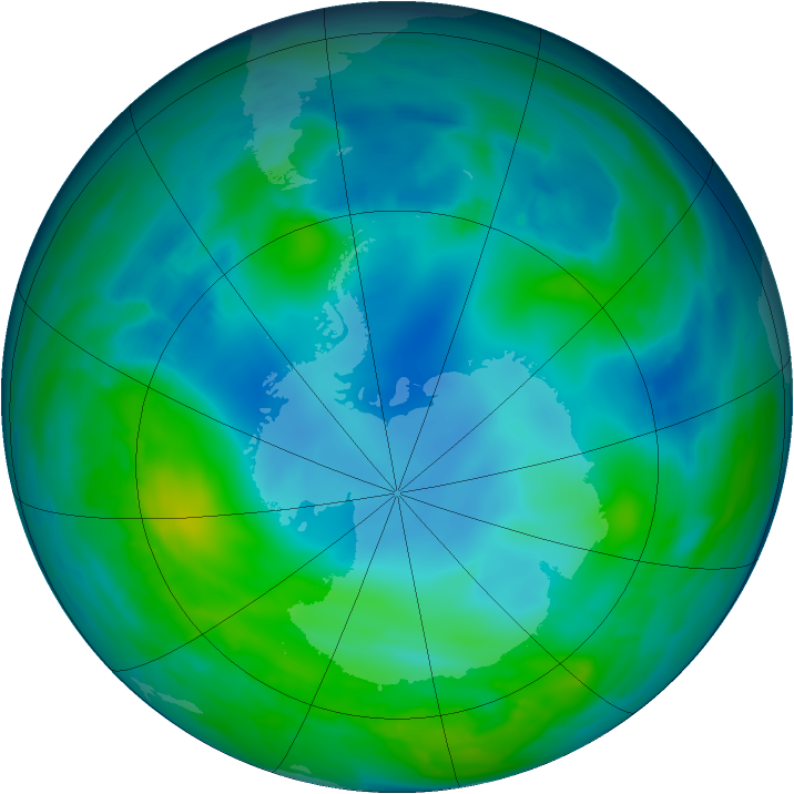Antarctic ozone map for 12 May 2014
