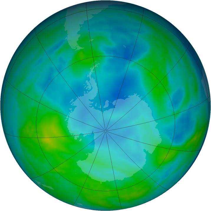 Antarctic ozone map for 13 May 2014