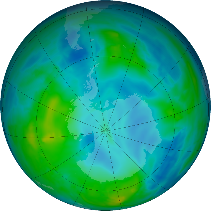 Antarctic ozone map for 15 May 2014