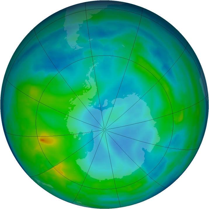 Antarctic ozone map for 17 May 2014