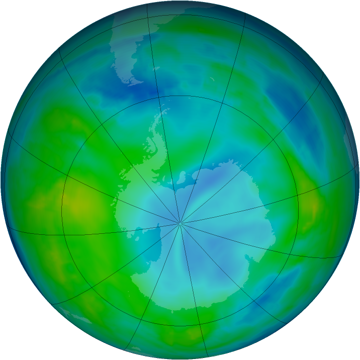 Antarctic ozone map for 18 May 2014