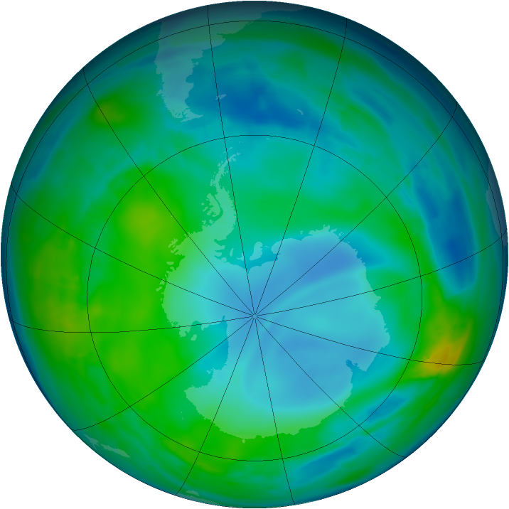 Antarctic ozone map for 19 May 2014
