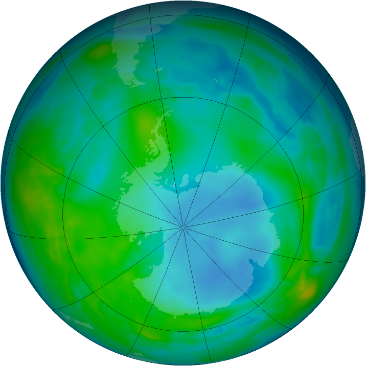 Antarctic ozone map for 20 May 2014