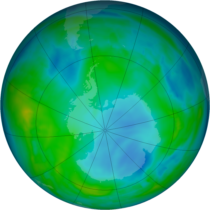 Antarctic ozone map for 21 May 2014