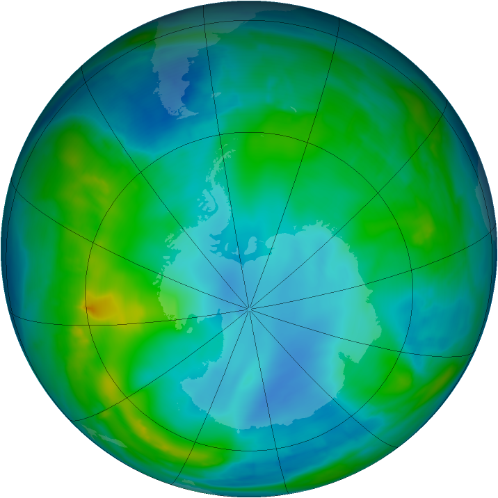 Antarctic ozone map for 23 May 2014