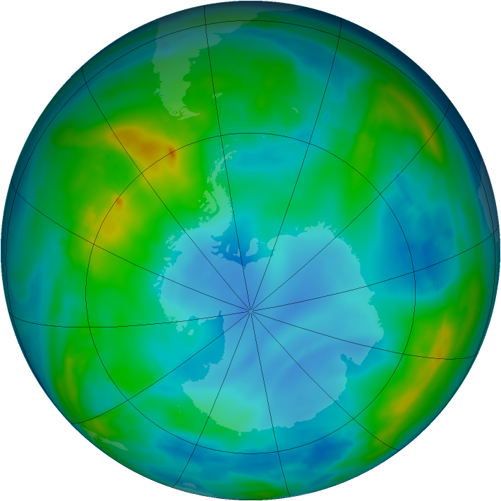 Antarctic ozone map for 26 May 2014