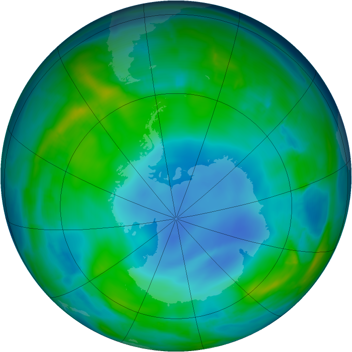 Antarctic ozone map for 28 May 2014