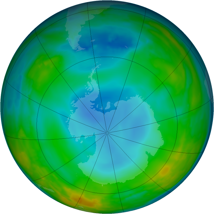 Antarctic ozone map for 29 June 2014