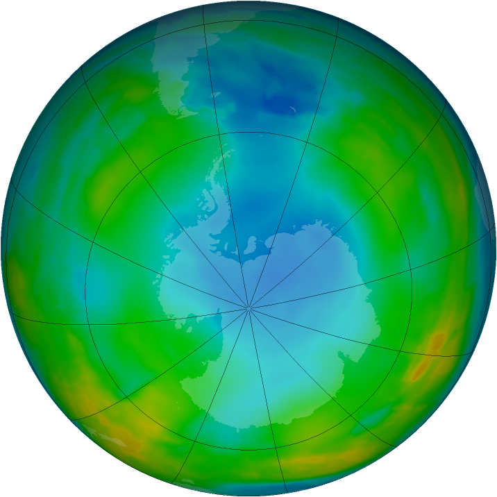 Antarctic ozone map for 01 July 2014