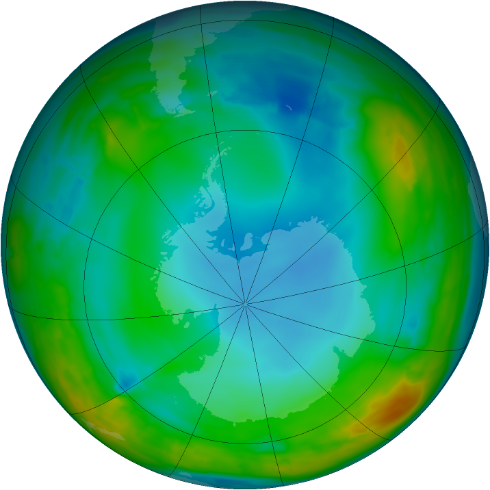Antarctic ozone map for 02 July 2014