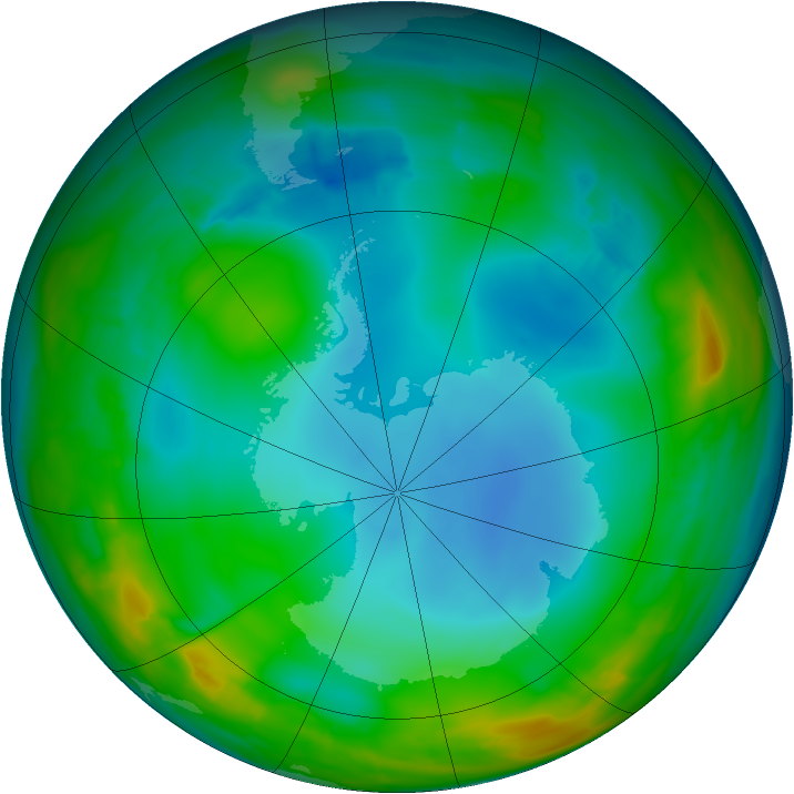 Antarctic ozone map for 05 July 2014