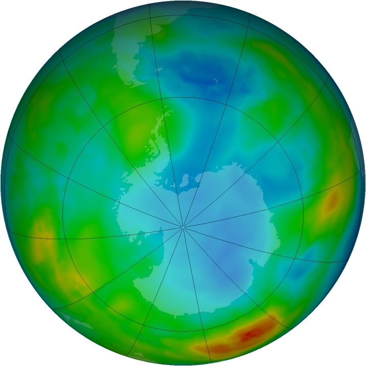 Antarctic ozone map for 06 July 2014