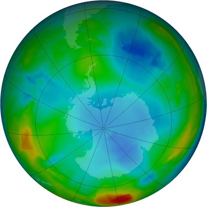 Antarctic ozone map for 07 July 2014