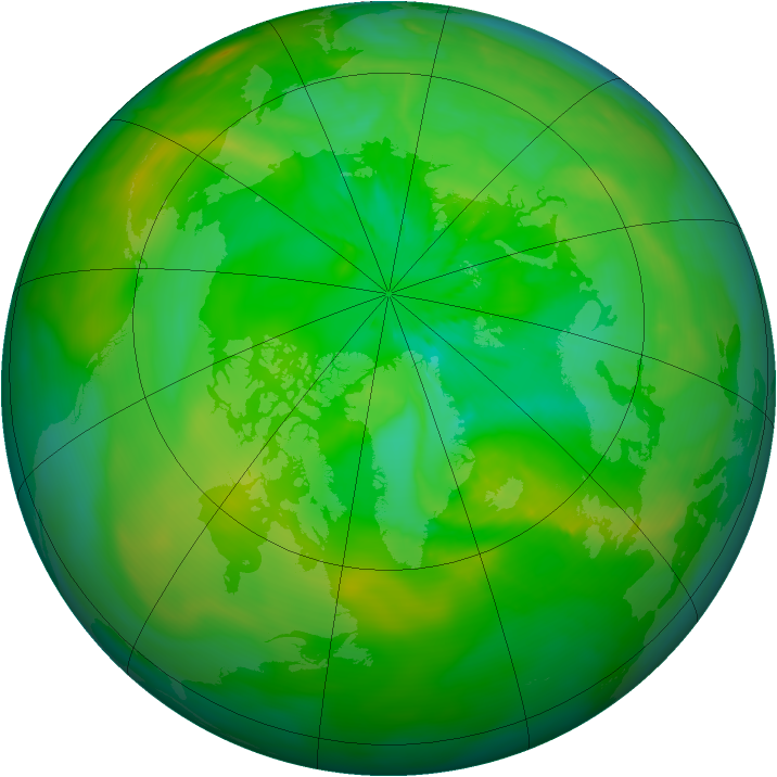 Arctic ozone map for 08 July 2014