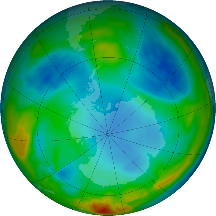 Antarctic ozone map for 08 July 2014