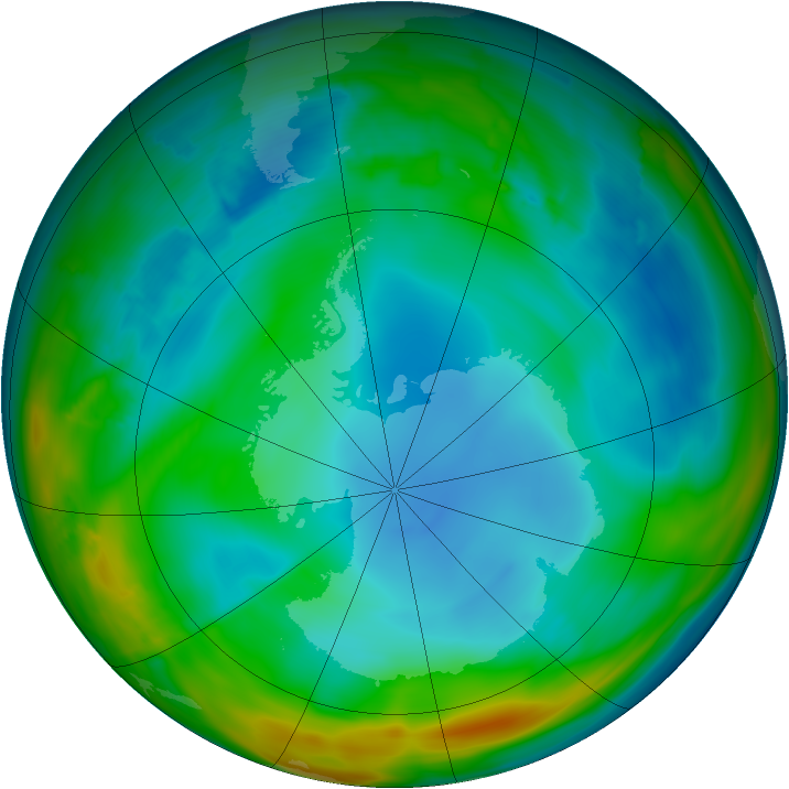 Antarctic ozone map for 09 July 2014