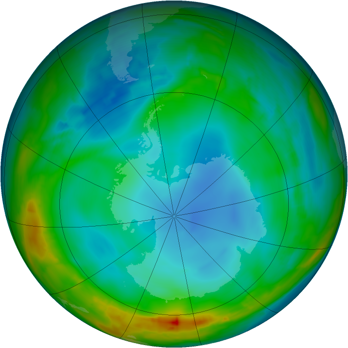 Antarctic ozone map for 10 July 2014