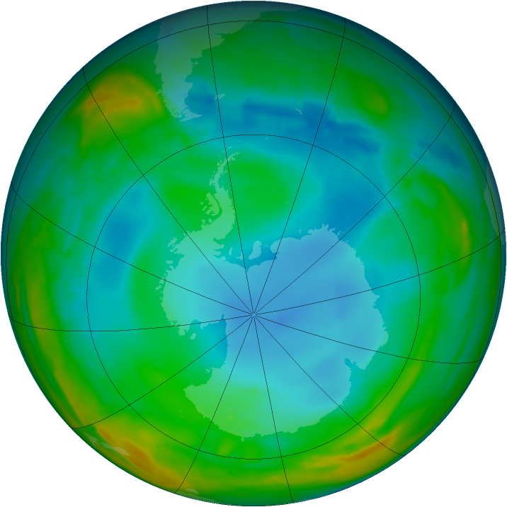 Antarctic ozone map for 13 July 2014