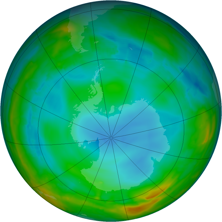 Antarctic ozone map for 14 July 2014