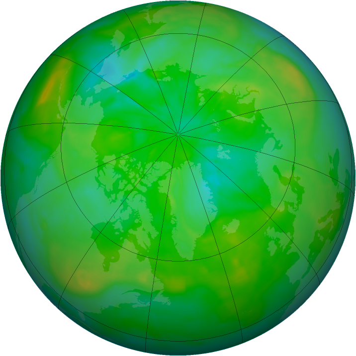 Arctic ozone map for 15 July 2014