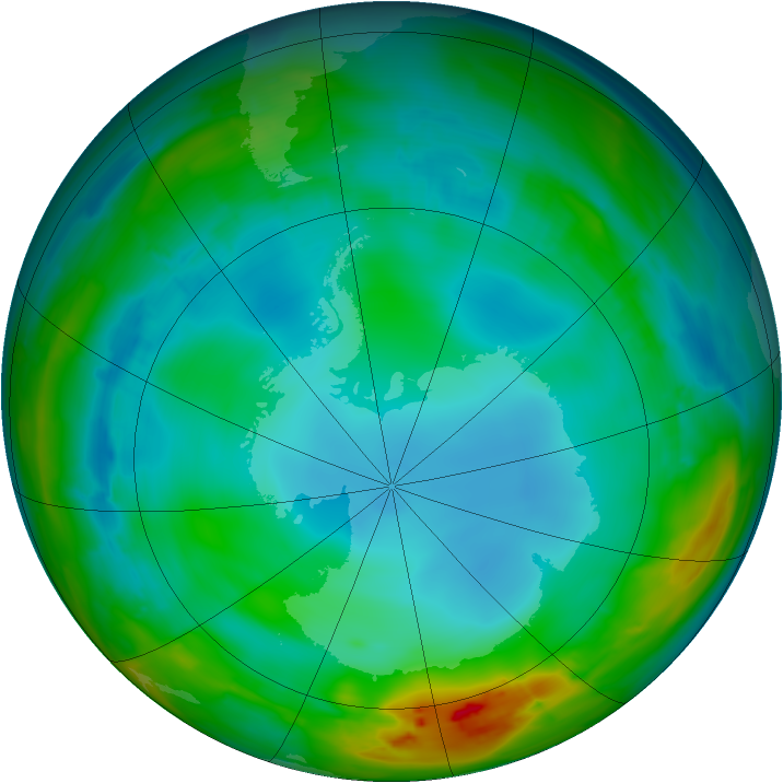 Antarctic ozone map for 15 July 2014