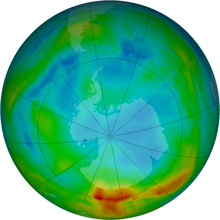 Antarctic ozone map for 16 July 2014