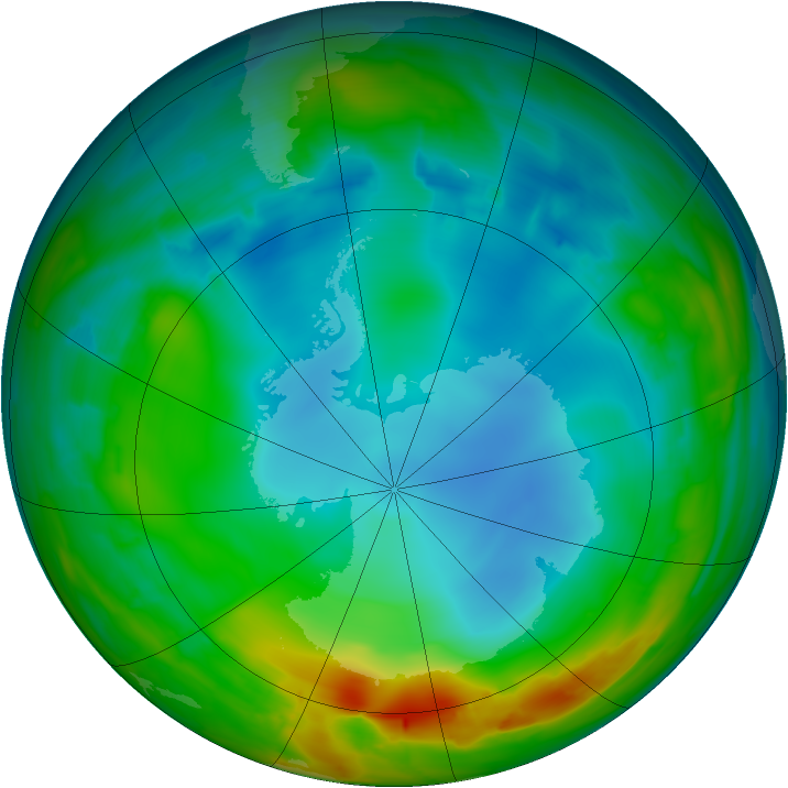 Antarctic ozone map for 17 July 2014