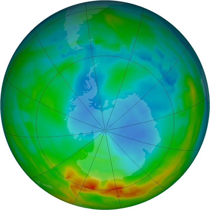 Antarctic ozone map for 18 July 2014