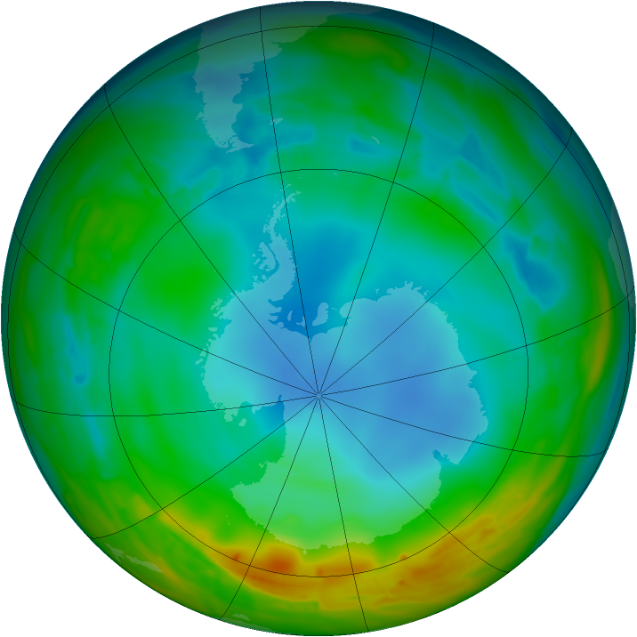 Antarctic ozone map for 19 July 2014