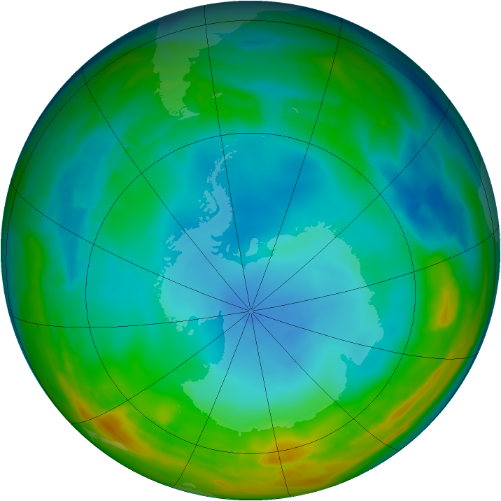 Antarctic ozone map for 21 July 2014