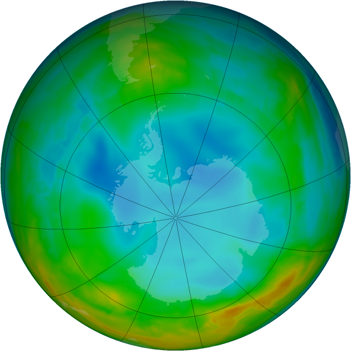Antarctic ozone map for 23 July 2014