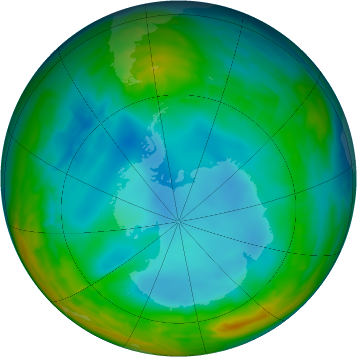Antarctic ozone map for 24 July 2014