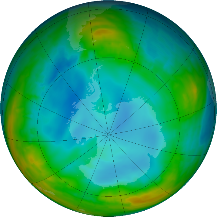 Antarctic ozone map for 25 July 2014