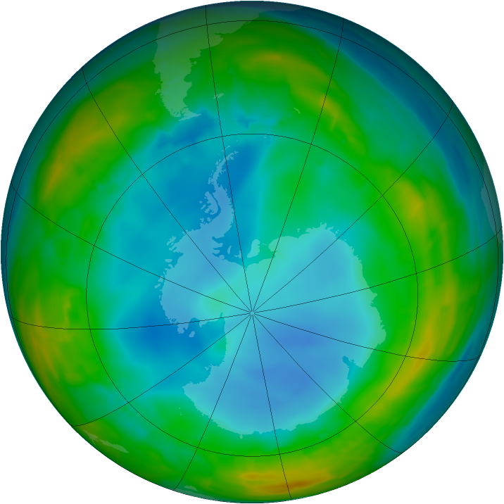 Antarctic ozone map for 27 July 2014