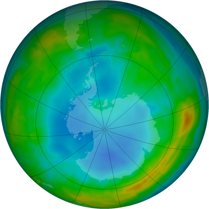 Antarctic ozone map for 28 July 2014