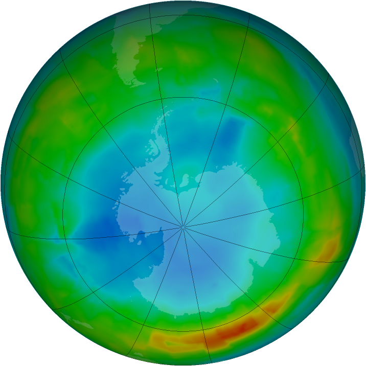 Antarctic ozone map for 29 July 2014