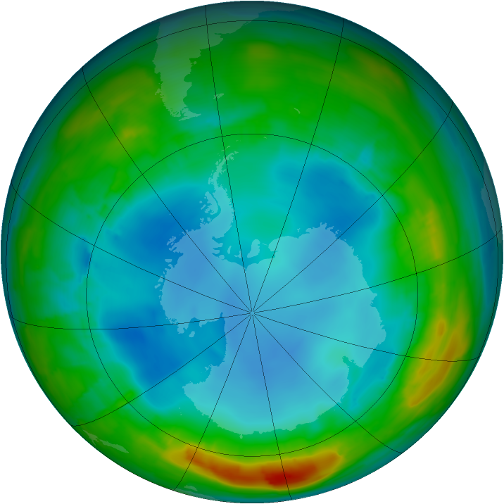Antarctic ozone map for 30 July 2014