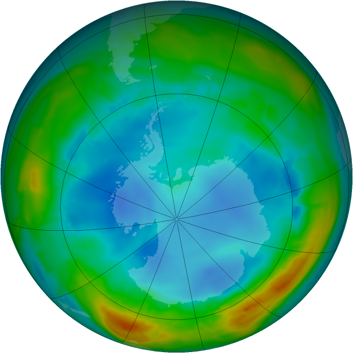 Antarctic ozone map for 01 August 2014