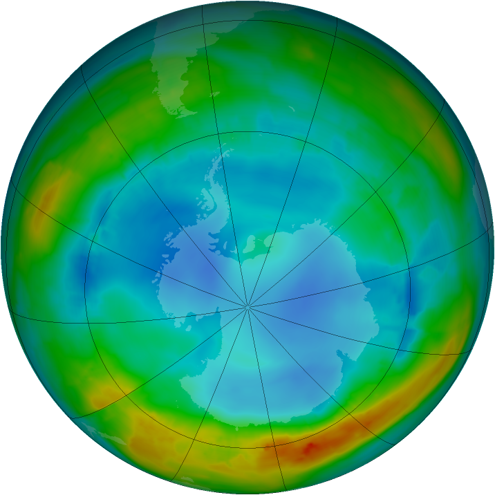 Antarctic ozone map for 02 August 2014